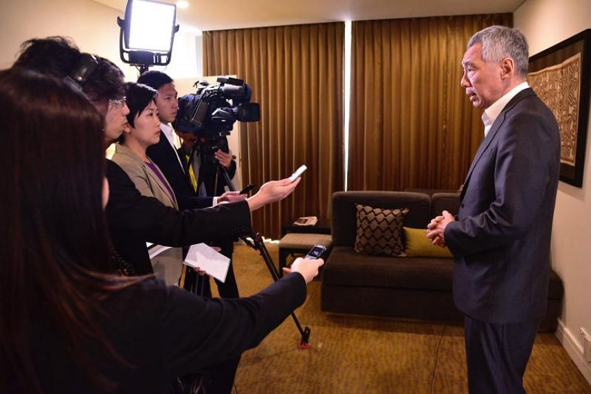 PM Lee Hsien Loong speaking to members of the media at the Grand Papua Hotel in Port Moresby on Nov 18, 2018.