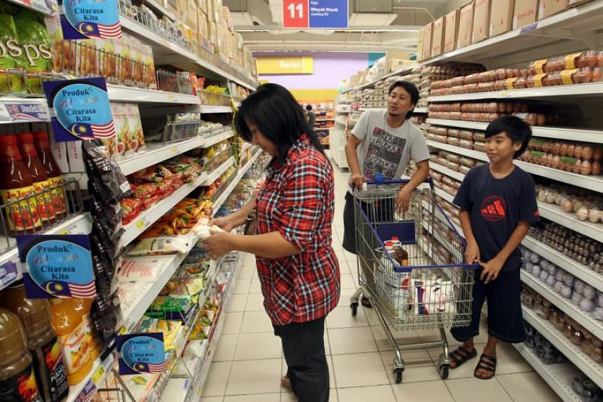 Shoppers at a supermarket in KSL City shopping mall in Johor Baru.