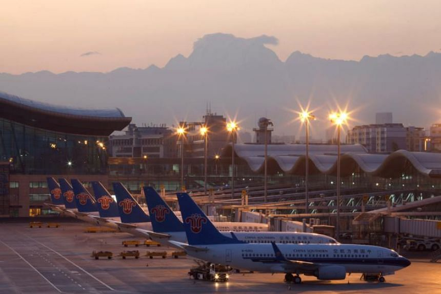 File photo of China Southern Airlines planes at the Urumqi Diwopu International Airport, in Xinjiang, China.