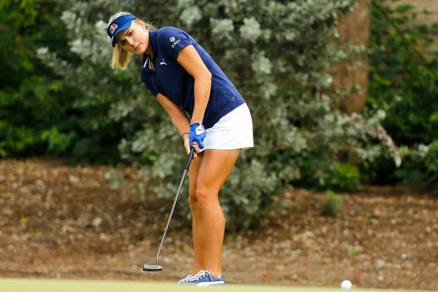Lexi Thompson putts on the second green during the final round of the LPGA CME Group Tour Championship at Tiburon Golf Club on Nov 18, 2018 in Naples, Florida.