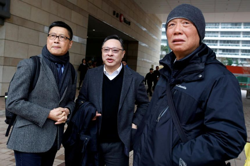 (From left) Sociology professor Chan Kin Man, 59, law professor Benny Tai, 54, and baptist minister Chu Yiu Ming, 74, founded the Occupy Central movement in 2013.