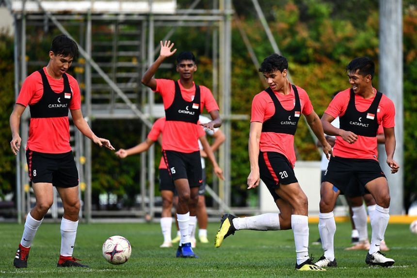 (From left) Jacob Mahler, Iqbal Hussain, Ikhsan Fandi and Khairul Amri training at Geylang Field on Nov 18, 2018. Amri is in line for his first start in this AFF Cup and will be aiming to score in his seventh regional tournament.