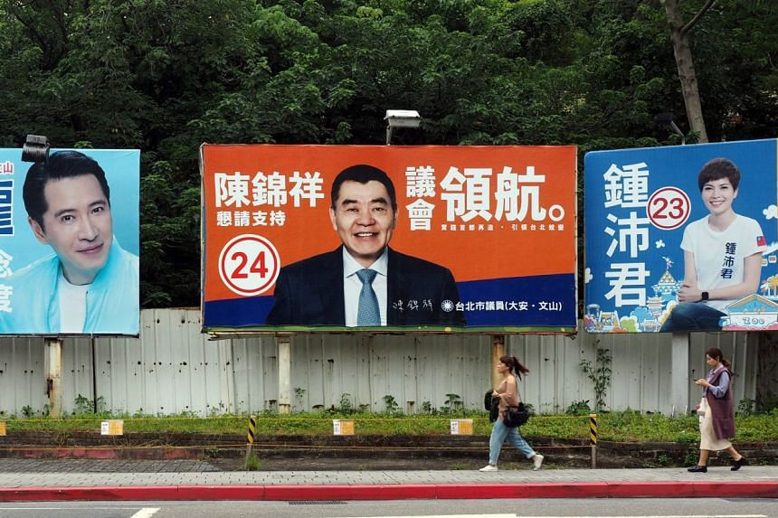 Campaign billboards in Taipei, where the race is on to decide who will become its mayor. Dr Ko Wen-je, a renowned organ transplant specialist with no experience in politics before 2014, is expected to be re-elected, albeit with a reduced margin. The
