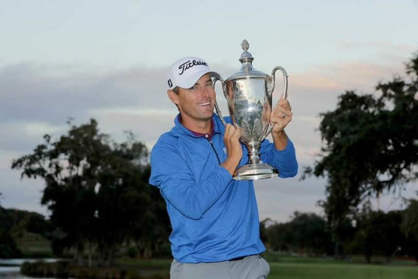 An emotional but joyful Charles Howell holding his trophy after winning the RSM Classic at the Sea Island Golf Club Seaside Course, in St. Simons Island, Georgia, on Nov 18, 2018.