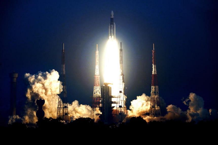 The fully integrated GSAT-29 satellite taking off from the launch pad at Sriharikota's Satish Dhawan Space Centre in Andhra Pradesh, India, on Nov 14, 2018.