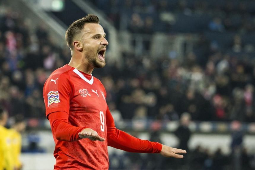 Switzerland's Haris Seferovic celebrates his goal during the UEFA Nations League soccer match between Switzerland and Belgium in Lucerne, Switzerland, on Nov 18, 2018.