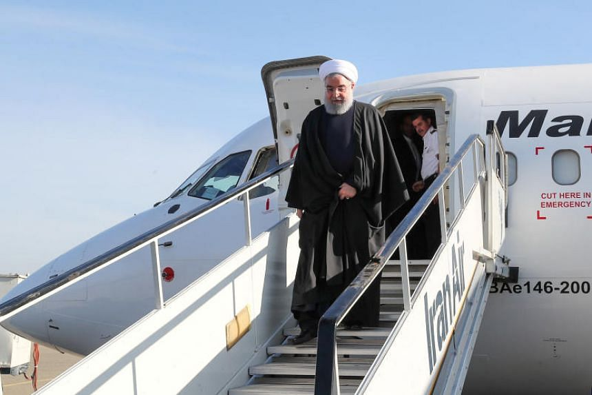 Iranian President Hassan Rouhani arrives to give public speeches in the city of Khoy, West Azerbaijan, on Nov 19, 2018.