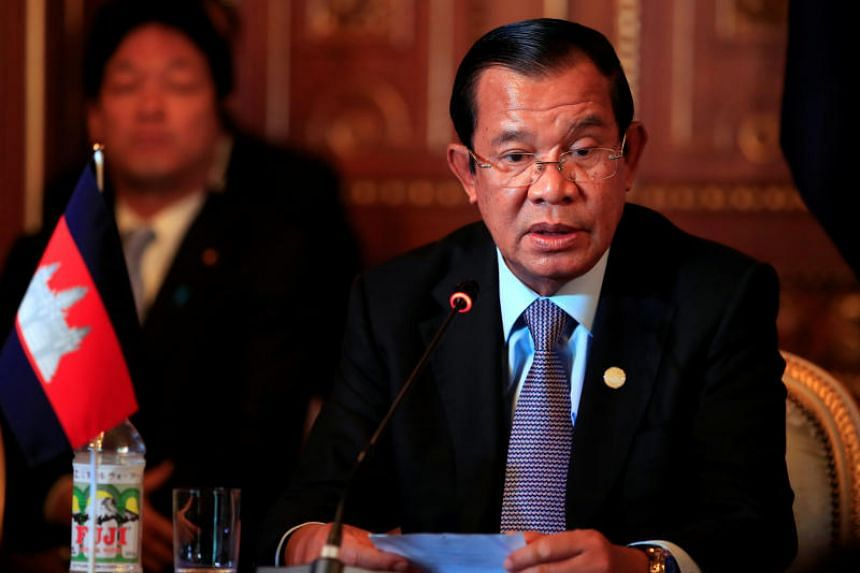 Cambodia's Prime Minister Hun Sen attends a news conference in Tokyo, Japan, on Oct 9, 2018. Mr Hun Sen has said that Cambodia will not allow foreign military bases on its soil, amid rumours of a Chinese naval site being built.