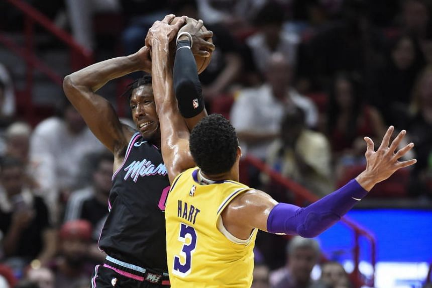 Josh Richardson was upset about a non-call on his drive to the basket when a collision with Los Angeles Lakers guard Josh Hart was not ruled a foul.
