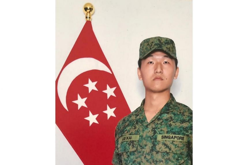 Corporal First Class Liu Kai, who died after an armoured vehicle reversed into a Land Rover he was driving during a field training exercise, on Nov 3, 2018.