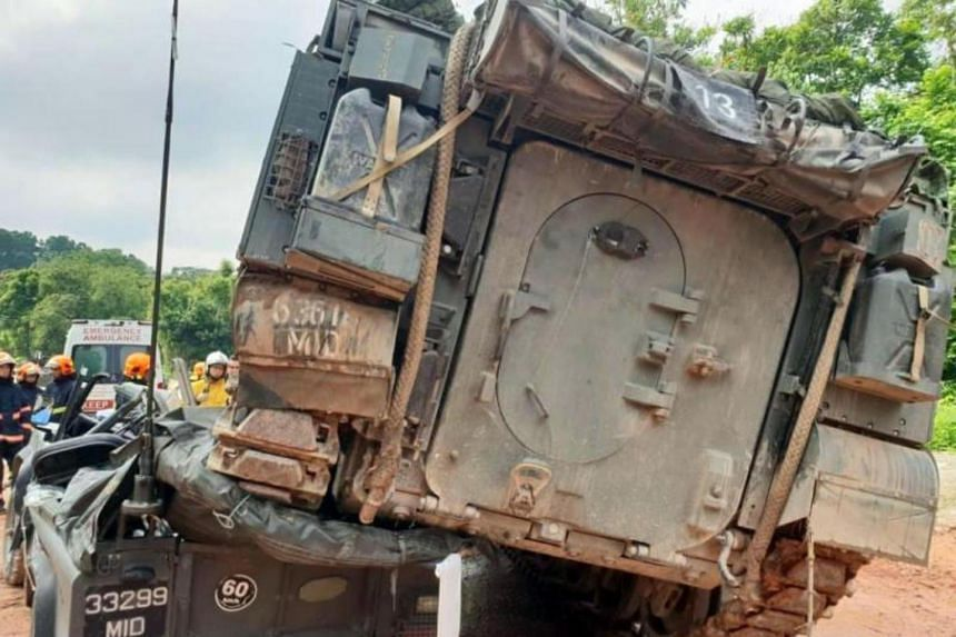 A photo circulating on social media shows the scene of an accident involving a Singapore Armed Forces' Bionix armoured vehicle. Corporal First Class Liu Kai died on Nov 3, 2018, after a Bionix armoured vehicle reversed into a Land Rover he was driv