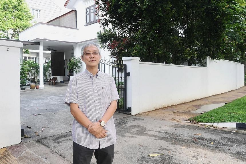 A stretch of road outside the Geylang Bahru Town Council office (above) is one of the spaces available for artists to put up their artwork. Mr Francis Yeoh (left) has offered the 12m perimeter wall of his Sommerville Road home for public art.