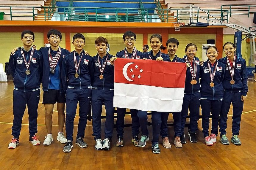 (From left) Ethan Poh, Koen Pang, Clarence Chew, Lucas Tan, Gerald Yu, Wong Xin Ru, Goi Rui Xuan, Eunice Lim, Pearlyn Koh and Tan En Hui helped Singapore win five golds, four silvers and seven bronzes at the Nov 15-18 South-east Asian Table Tennis Ch
