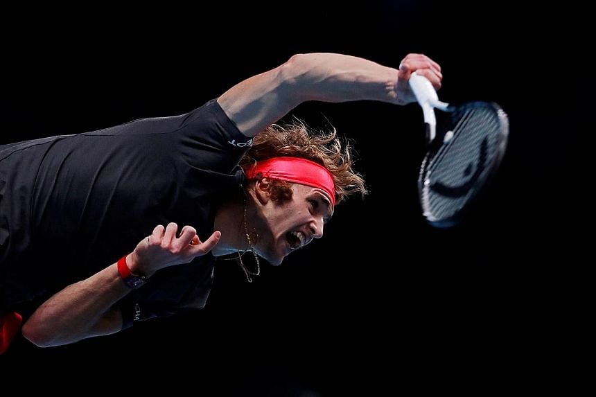 Alexander Zverev firing one of his many booming serves to Novak Djokovic in the final of the ATP Finals at the O2 Arena in London on Sunday. The 21-year-old German won 6-4, 6-3 to be the youngest player to take the year-ending title since the Serb 10