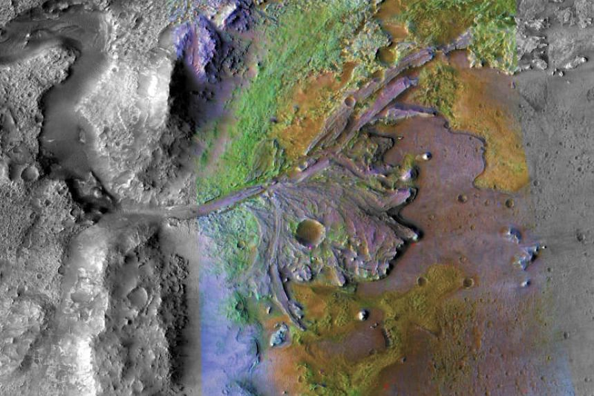On ancient Mars, water carved channels and transported sediments forming fans and deltas within lake basins.