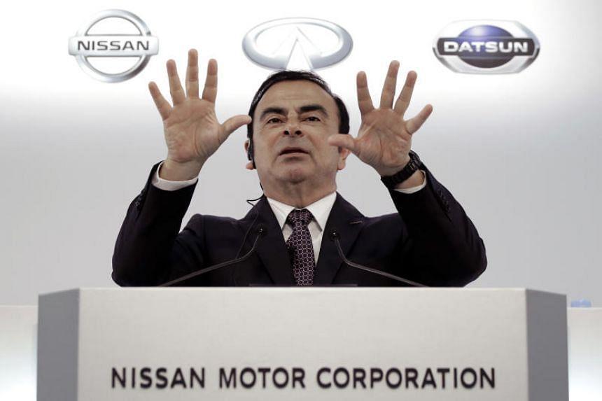 Carlos Ghosn gestures as he speaks during a news conference in Yokohama, Kanagawa Prefecture, Japan, in May 2016.