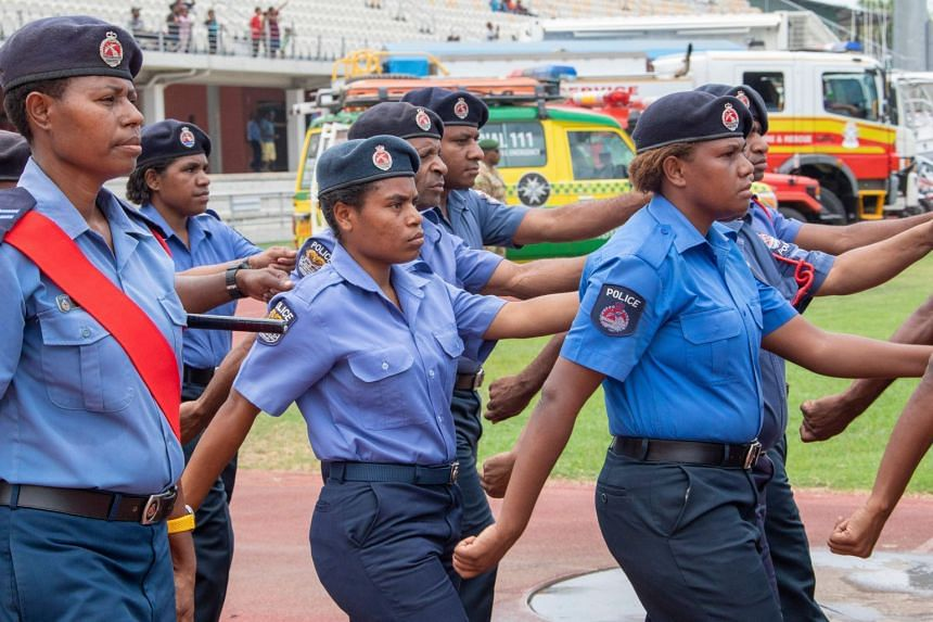 File photo of Papua New Guinea police during a parade in Port Moresby on Nov 5, 2018.