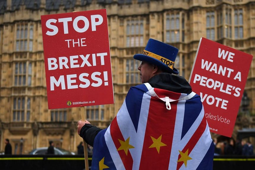An anti-Brexit protester demonstrates outside Parliament in London, Nov 20, 2018.