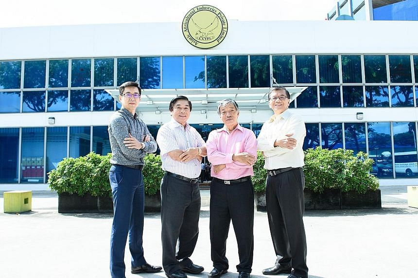 The Asiatic Agricultural Industries leadership team: (from left) marketing director Andrew Chan, chairman and technical director Chan Chek Chee, founder and director Chan Chik Wai, who started the company in 1972 by going from farm to farm on his bic