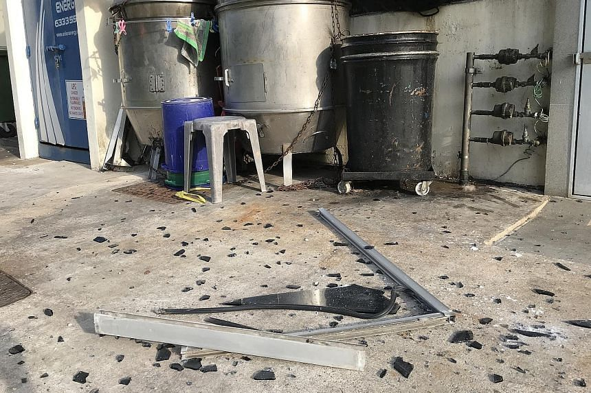A sliding window panel fell from an eighth-storey flat at Block 116 Lorong 2 Toa Payoh on Monday, narrowly missing Mr Hu Lai Fu, a worker at a roasted meat stall at the coffee shop below.