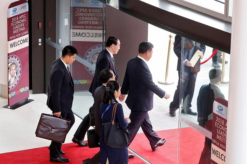 China's President Xi Jinping leaving the Apec summit in Port Moresby, Papua New Guinea, on Sunday.