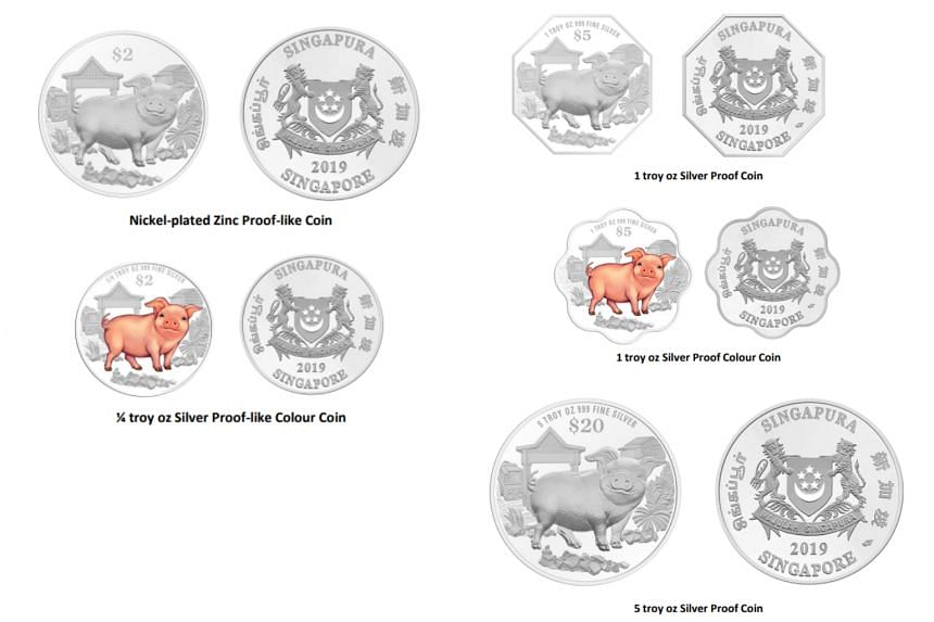 MAS unveils 2019 Year of the Boar Chinese Almanac coins