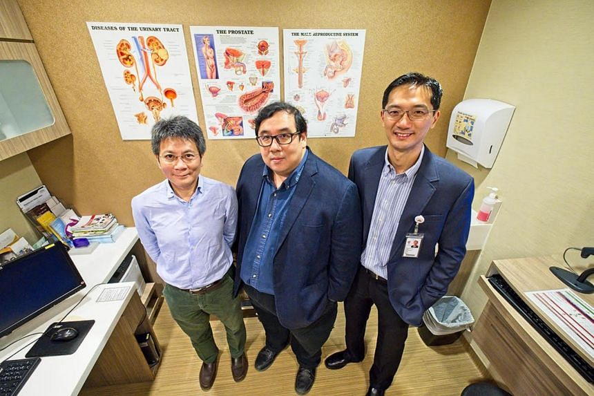 (From left) Professor Luke Kang Kwong Kapathy and Assistant Professor Lim Ni Eng, from NTU, led the study in collaboration with Adjunct Assistant Professor Png Keng Siang, a senior consultant at Tan Tock Seng Hospital's urology department.