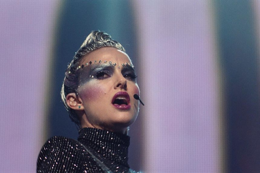 Natalie Portman plays Celeste, a pop star in the mould of Lady Gaga, a shapeshifter fond of masking her real self behind elaborate get-ups.