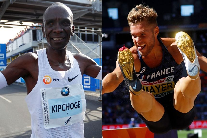 Eliud Kipchoge (left) and Kevin Mayer are among five nominees.