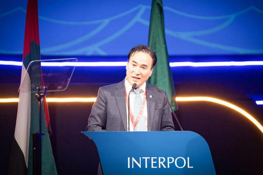 Mr Kim Jong-yang speaking at Interpol's 87th General Assembly in Dubai, which was held from Nov 18 to 21, 2018.