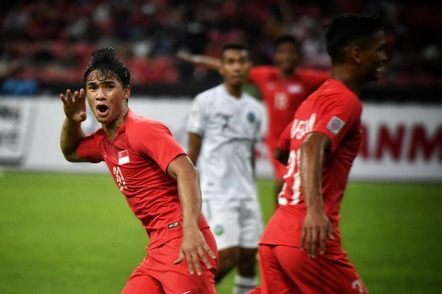 Ikhsan Fandi celebrates after scoring his second goal of the match at the AFF Suzuki Cup on Nov 21, 2018.