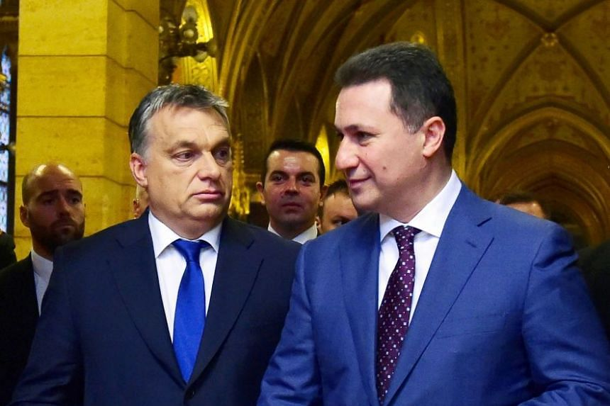 Macedonia's then-PM Nikola Gruevski (right) in Budapest in 2015 with Hungarian counterpart Viktor Orban.