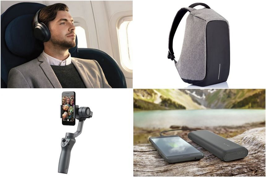(Clockwise from top left) Sony WH-1000XM3 headphones, XD Design's Bobby backpack, Anker PowerCore Speed 20000 and Osmo Mobile 2.