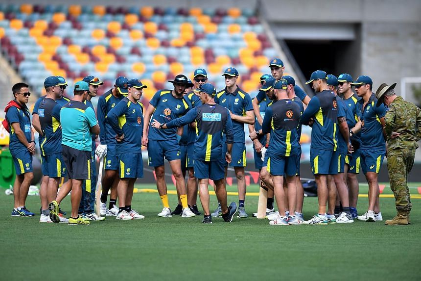 Australia T20 cricket team congregates during training ahead of the International matches between Australia and India, at the Gabba in Brisbane, Australia, on Nov 19,  2018.