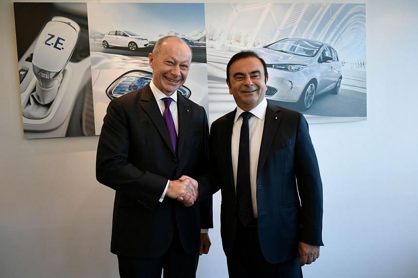 Thierry Bollore (left) was named interim deputy chief executive officer, with the same powers as long-time chief Carlos Ghosn.