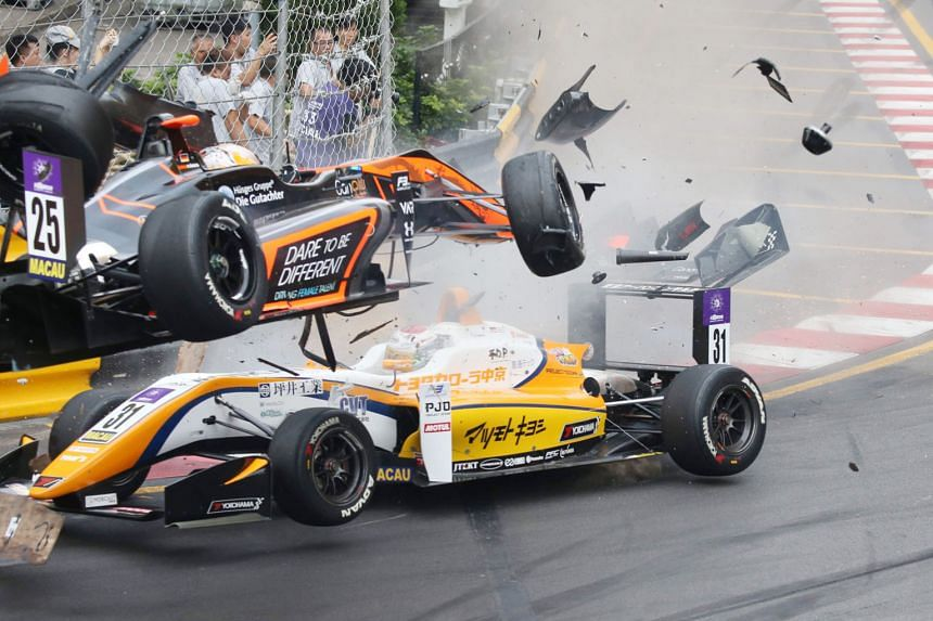 Sophia Florsch lost control of her car (No. 25) going into the Lisboa bend, hitting Sho Tsuboi's vehicle before her car went airborne at the Macau Grand Prix circuit on Sunday. She suffered a spinal fracture but is not paralysed.
