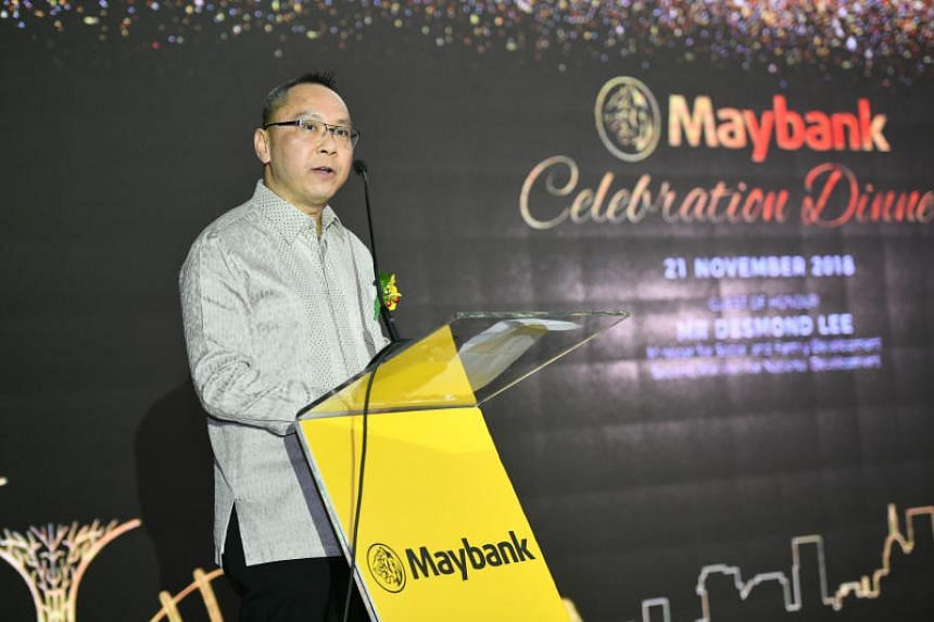 Dr John Lee, CEO of Maybank, speaks at the launch of the Maybank Family Fund @ CDC on Nov 21, 2018.