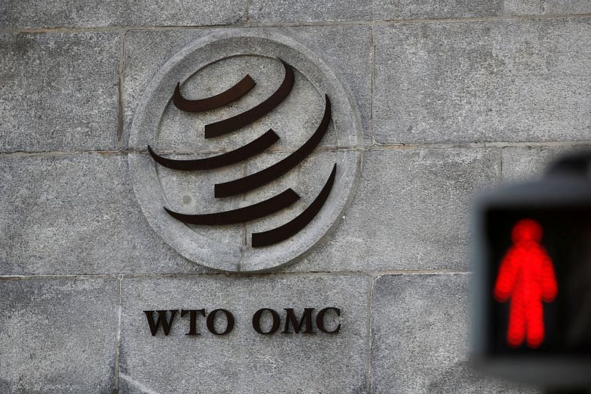 A logo is pictured outside the World Trade Organisation headquarters in Geneva, Switzerland.