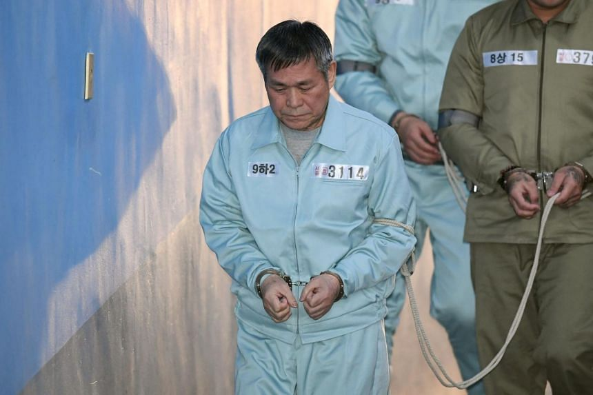 South Korean pastor Lee Jaerock arrives at the Seoul Central District Court to attend his trial in Seoul on Nov 22, 2018.