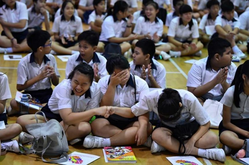 Pupils at Geylang Methodist School (Primary) waiting for the release of their Primary School Leaving Examination results on Nov 22, 2018.