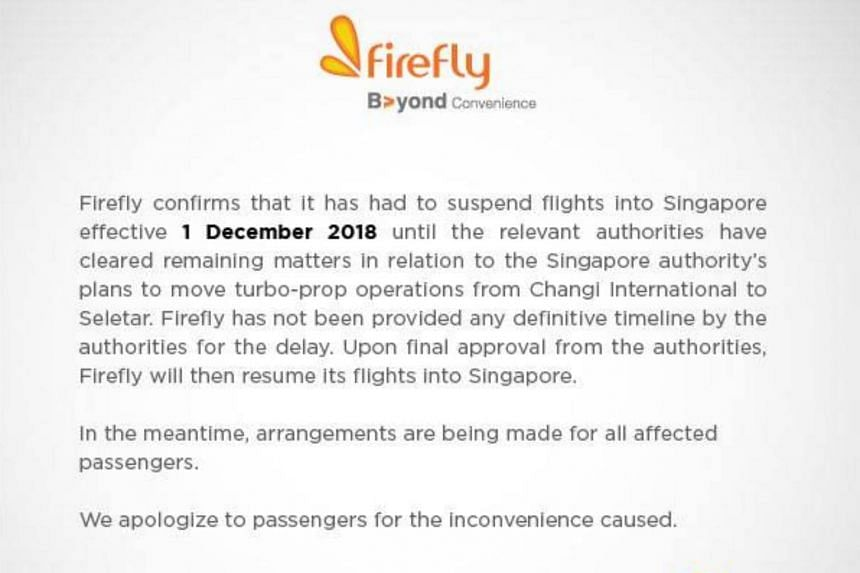 Firefly, a full subsidiary of Malaysia Airlines, did not elaborate further on its decision to suspend flights.