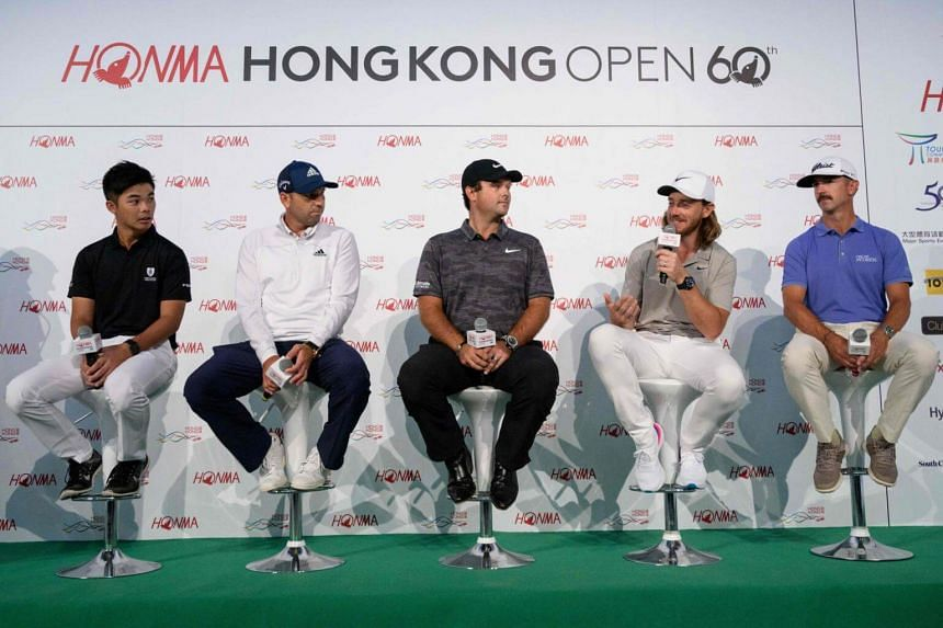 (From left) Steven Lam, Sergio Garcia, Patrick Reed, Tommy Fleetwoodand Wade Ormsby attend a press conference ahead of the Hong Kong Open golf tournament, on Nov 20, 2018.