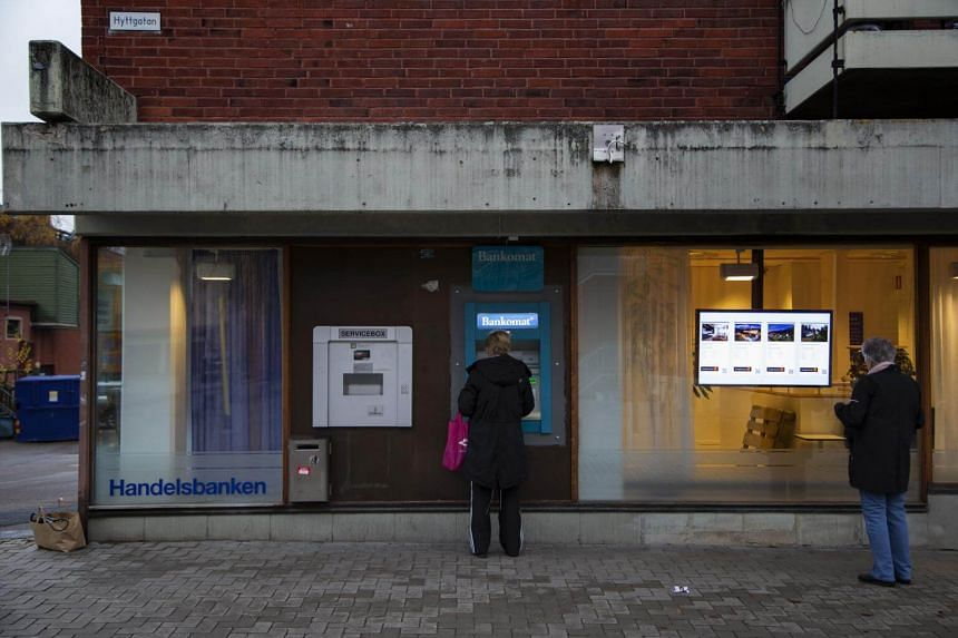An ATM in Sandviken, Sweden, on Nov 7, 2018. The central bank is testing a digital currency to keep firm control of the money supply.