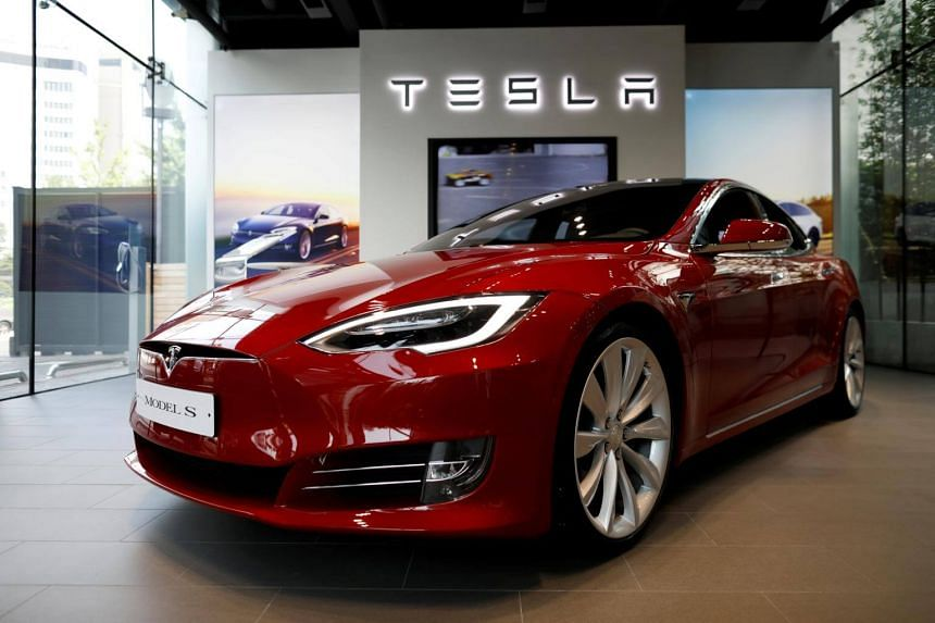A Tesla Model S electric car is seen at its dealership in Seoul, South Korea, on July 6, 2017.
