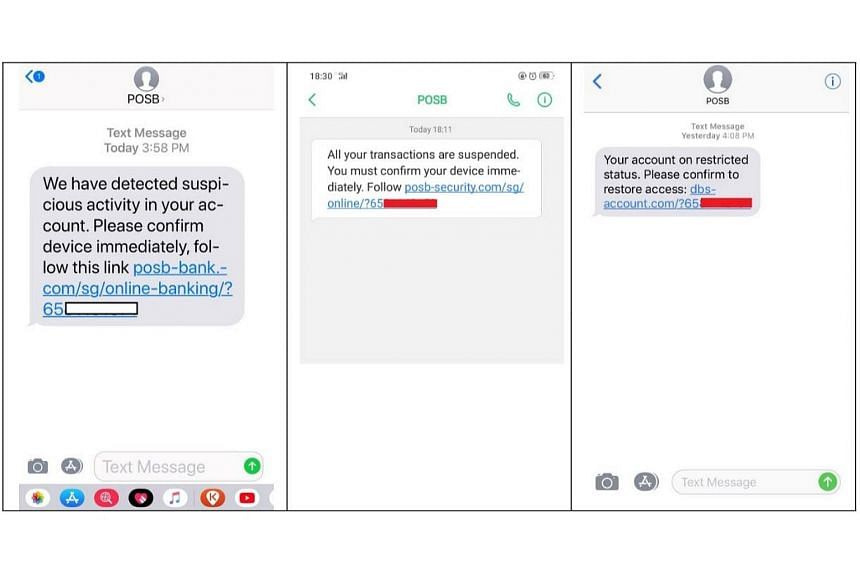 The police and DBS Bank are warning members of the public about phishing scams that target victims through the use of SMS.