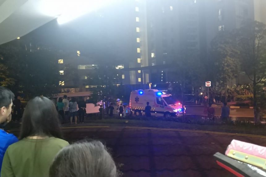 People gathering at the site of an accident between a private bus and a pedestrian at the Forestville executive condominium on Nov 21, 2018.