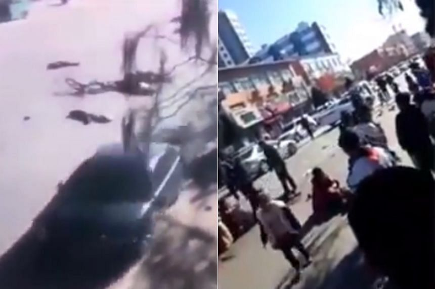 Unverified videos circulating on social media appeared to show a car veering onto the wrong side of the road and ploughing through the line of pupils, with the impact from the crash throwing bodies across the road.