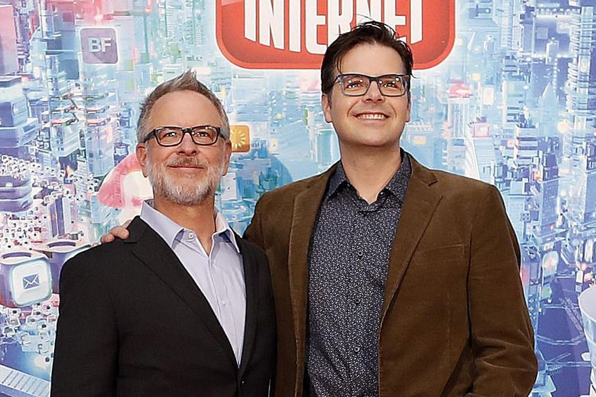 Directors Rich Moore (above left) and Phil Johnston are behind Ralph Breaks The Internet: Wreck-It Ralph 2, which features Disney princesses and heroines (left).