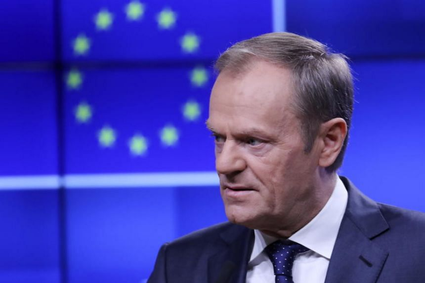 European Union Council President Donald Tusk attends an event to receive a copy of a draft Brexit withdrawal agreement in Brussels, Belgium, on Nov 15, 2018.