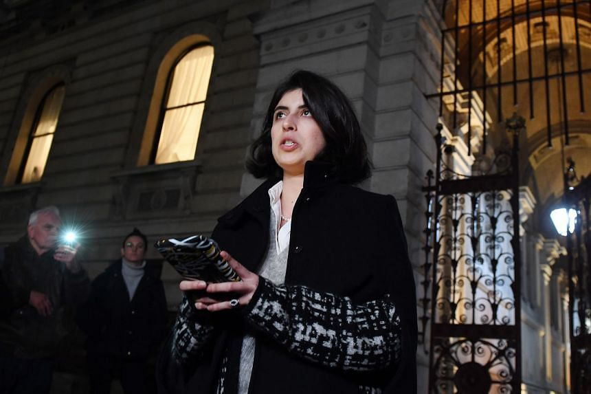 Daniela Tejada speaks to the press outside the Foreign Office after a meeting with British Foreign Secretary Jeremy Hunt.